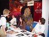 Marina Sirtis tries to ignore the Wookie stalking her at &quot;Screenheroes&quot; Con in Utrecht, Netherlands Sept 25, 2005